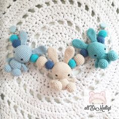 A personal favorite from my Etsy shop https://www.etsy.com/dk-en/listing/474765639/crochet-baby-bunnies-stroller-toy