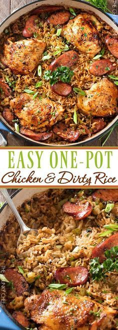 One Pot Chicken & Dirty Rice Chicken thighs are cooked on top of a homemade dirty rice, which makes for the most flavorful Cajun-inspired dish you've ever had! Plus, all you need is one pot! Chicken And Dirty Rice Recipe, One Pot Chicken, Pollo Chicken, Recipe Chicken, Tuscan Chicken, Cajun Chicken And Rice, Recipes With Dirty Rice, Chicken Sausage, Recipes For Chicken Thighs