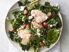 Kale and spinach provide a hearty salad base for herb-seasoned pork tenderloin, tangy feta, sweet grapes, and a bright, citrusy olive oil dressing. Dairy-free option: Use 2 teaspoons toasted chopped walnuts instead of feta cheese.