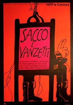 Polish Movie Poster by Jerzy Flisak, 1972, 'Sacco e Vanzetti' dir. by G. Montaldo.