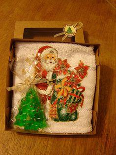 Toalha e sabonete de Natal