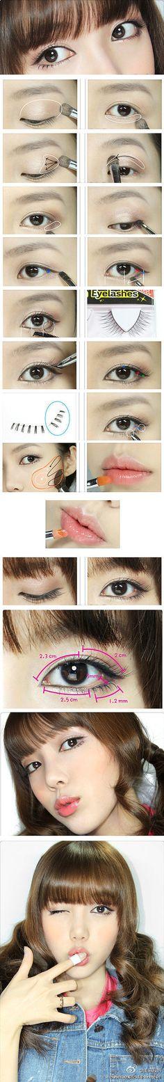 Eyes makeup pictorial - Kawaii makeup #cute #eyes #makeup #tutorial