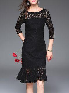 Black Guipure Lace Elegant Mermaid Plain Midi Dress