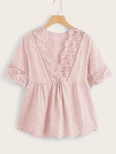 Plus Lace Panel Eyelet Embroidery Peplum Blouse Blouse Styles, Blouse Designs, Girl Outfits, Fashion Outfits, Peplum Blouse, Dressy Tops, Summer Shirts, Plus Size Blouses, Blouses For Women