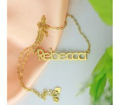 Personalized Gold Plated Silver Rebecca Style Name Necklace GPR8