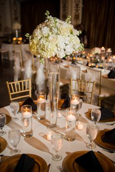 An Elegant Gold and White Sarasota Wedding White Floral Centerpieces, Tall Wedding Centerpieces, Flower Centerpieces, Wedding Decorations, Show Plates, Destination Wedding Inspiration, Wedding Reception Venues, Floating Candles, Real Weddings