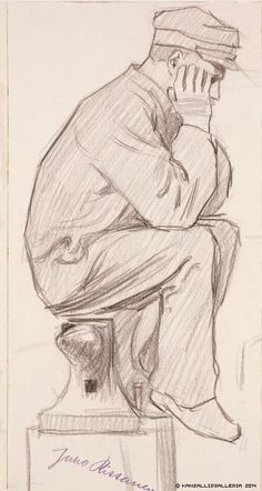Juho Rissanen (1873-1950) Istuva seppä / Blacksmith 1904-1909 - Finland Blacksmithing, Line Drawing, Finland, Art Gallery, Artists, Drawings, Museum, Blacksmith Shop, Art Museum
