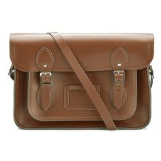 The Cambridge Satchel Company 13 Inch Leather Satchel - Vintage Brown ($135) ❤ liked on Polyvore featuring bags, handbags, purses, bolsas, bolsos, accessories, vintage leather purses, man bag, brown purse and handbag purse