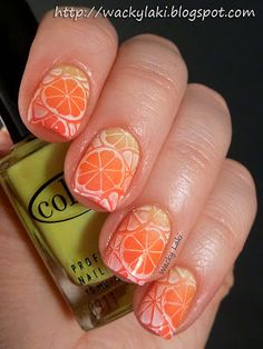 Base is Color Club Get Your Lem-On and then sponged a gradient from base to tips using Color Club shades Get Your Lem-On, Wham! Pow! and Warhol, citrus pattern stamped from Bundle Monster BM-308