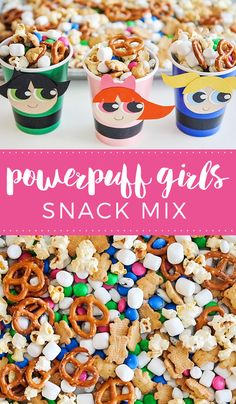 This Powerpuff Girls snack mix is so easy to make, and perfect for munching while watching your favorite superheroes in action! via @somewhatsimple