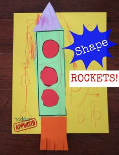 Toddler Approved!: Shape Rockets- Back to School Basics. Simple scissor skills activity for your rocket lovers. Do you have any of those at your house?