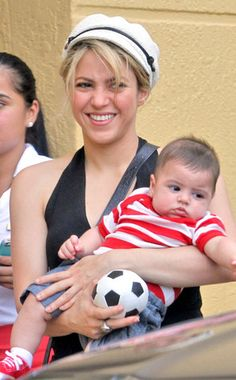 Baby Milan's big day out!  Shakira took her adorable son out to watch his father, Gerard Piqué, play a little soccer on Miami on Thursday. The footballer was in town for his team's practice session and had two of the best cheerleaders in the stands.