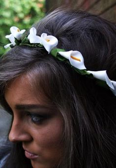 Stunning grecian lily floral festival headband