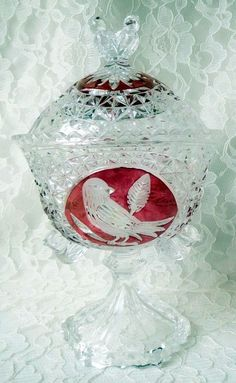 Pottery & Glass Vintage Hofbauer Bohemian Ruby Clear Crystal 4x Glasses And Decanter Special Section Stunning