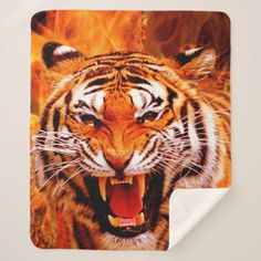 Tiger and Flame Sherpa Blanket - home gifts ideas decor special unique custom individual customized individualized