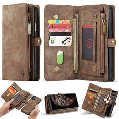 CaseMe iPhone 11 Pro Zipper Wallet Detachable 2 in 1 Case Coffee Iphone 11 Pro Case, Iphone Cases, Leather Cover, Leather Fashion, 2 In, Leather Wallet, Pouch, Zipper, Coffee