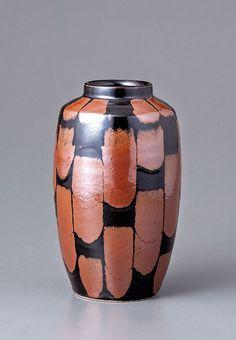 """Yoshinori Hagiwara, Vase, kaki and black glazes, stoneware, 8.25 x 5 x 5"""""""