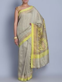 Buy Grey Yellow Silk Sequins Zari Jamdani Handwoven Saree Sarees Woven Colors of Festivity in Online at Jaypore.com