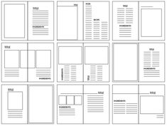 Grid structures are the layout look of where the image and body copy will be placed on what is being created. They are very important because they breakup the layout of the design so you can imaging the way you want your design to be. Editorial Design Layouts, Graphic Design Layouts, Book Design Layout, Print Layout, Graphic Design Inspiration, Writing Inspiration, Layout Inspiration, Design Posters, Magazine Design Inspiration