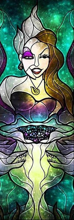 Little Mermaid's Ursula stained glass art via www.Facebook.com/DisneylandForMisfits