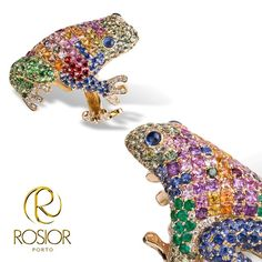 Frog Ring Diamonds, Sapphires, Rubis and Emeralds 19,2k Gold
