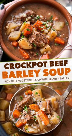 Crockpot Beef Barley Soup – The Chunky Chef Hearty and positively soul-warming, this beef barley soup simmers all day in the slow cooker, which makes for an incredibly rich soup recipe! Crockpot Beef Barley Soup, Beef Soup Recipes, Slow Cooker Soup, Slow Cooker Recipes, Cooking Recipes, Top Recipes, Healthy Crockpot Soup Recipes, Stewing Beef Recipes, Vegetable Beef Barley Soup