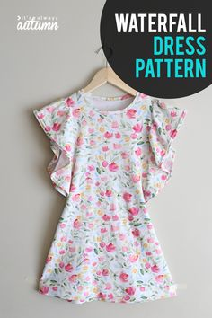 The waterfall dress pattern for girls {easy sewing tutorial – Free Sewing Patterns + Tutorials Sewing Projects For Beginners, Sewing Tutorials, Sewing Tips, Sewing Hacks, Sewing Ideas, Dress Tutorials, Love Sewing, Sewing For Kids, Cute Girl Dresses
