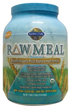 Garden of Life - Raw Meal  Raw. Vegan. Organic. Gluten free. Dairy free. No soy allergens. Lactose free. No fillers. No isolates. No synthetic nutrients. No artificial sweeteners. No preservatives.