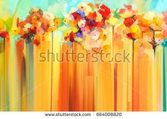 Abstract floral oil color painting. Hand painted Yellow and Red flowers in soft color. Flower paintings on yellow and red color background. Spring flower seasonal nature background.