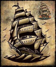 Tattoo Designs Us: Genie Lamp Tattoo Traditional Nautical Tattoo, Traditional Ship Tattoo, Traditional Tattoo Old School, Traditional Flash, Time Tattoos, Body Art Tattoos, Sleeve Tattoos, Ship Tattoos, Genie Lamp Tattoo