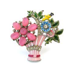 CORO Flower Basket Brooch | Pink Enamel Glass Rhinestone Floral Pin | Vintage 1940s Jewelry