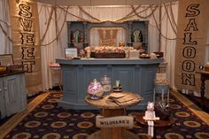 Sweet Saloon Candy and Dessert Station by Sweets Indeed/Vintage furniture from Found Vintage Rentals