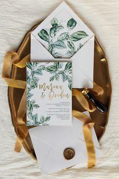 Greenery and gold wedding invitation / PAPIRA invitatii de nunta personalizate