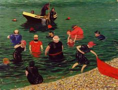 Bathing 1899 painting Felix Vallotton | Oil Painting Reproduction