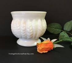 Milk glass ribbed pedestal bowl is lovely centerpiece for table-top decoration at #VintageVenturesShop #Etsy. To buy click image #MilkGlass #Vintage #VintageMilkGlass #MilkGlassVases #VintageVases #WeddingVases #ShabbyDecor #CottageDecor #MidCenturyModern #WeddingDecoration #BridalShower #CottageChic #ShabbyChic #FarmhouseStyle #FixerUpper