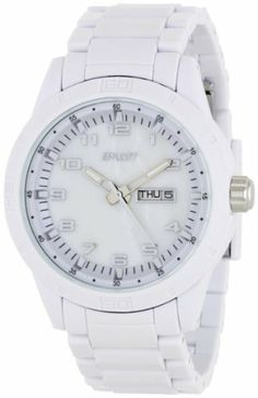 Sprout Women's ST3100MPWT Eco-Friendly Mother-Of-Pearl Dial White Corn Resin Bracelet Watch Sprout. $65.00