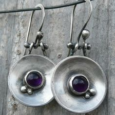 Earrings | Laura Bouton. Amethysts and sterling silver.