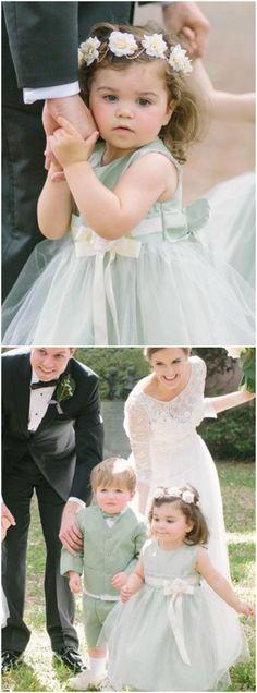 Mint green, flower girl & ring bearer, Charleston wedding, tulle dress, flower headband // Riverland Studios