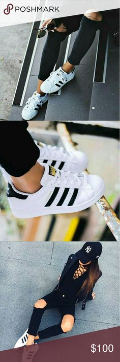 ⭐NEW Adidas Superstar White/Black Size 5 - The iconic Superstar sneaker gets a fresh update in a striking monochrome palette. - Removable insole. - Leather & synthetic upper/textile lining/synthetic sole - By adidas; imported - Women's Size 5 - Brand New In Box - Free Gift with purchase From my personal closet - Brand New Never Worn ▪ Price is Firm No Exceptions ▪ No Trades No Offers ▪ Fast Shipping Adidas Shoes Sneakers