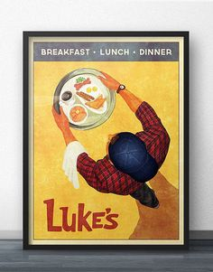 Coffee, coffee, coffee! As a HUGE fan of Gilmore Girls, I created this retro-style poster as a discreet way to show my love for Lukes Diner. If you fantasize about walking into your neighborhood greasy spoon and seeing a man in a flannel shirt and backwards cap serve you breakfast (and begrudgingly refill your coffee), then this artwork is for you!  Your poster will be printed on 100lb weight paper. The sizes offered makes this artwork very easy to frame because most stores already stock…