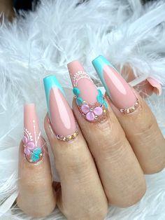 Hot Nail Designs, Colorful Nail Designs, Aqua Nails, Green Nails, 3d Flower Nails, Wow Nails, Bridal Nail Art, Acrylic Nail Tips, Nagel Gel