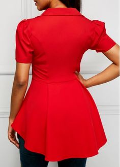 Button Up Short Sleeve Asymmetric Hem Red Blouse Casual Skirt Outfits, Dress Outfits, Fashion Outfits, Blouse Styles, Blouse Designs, Dress Over Pants, Fancy Tops, Trendy Tops For Women, Red Blouses