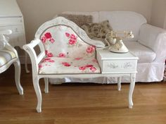 Telephone table painted shabby chic french style but with toile fabric to match the dining room.