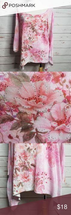 a7f9c76716ff8a CG L CG Pink Jeweled Sharkbite Shirt Size 1X Pink Pre-loved no flaws 100