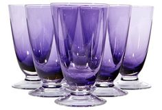 1950's set of seven clear footed amethyst glass tumblers
