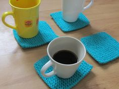 Aquamarine Hand Knitted Coasters set of 4, handmade protectors/ placemats