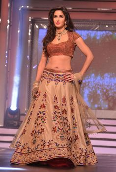 Katrina Kaif designer bollywood lehenga choli replica in Beige  B15405