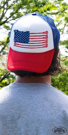 Show off your patriotic lacrosse pride with this fun trucker hat from ChalkTalkSPORTS!