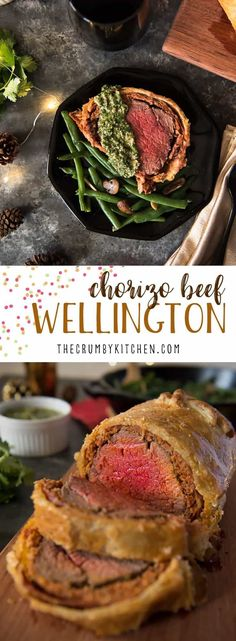 A Spanish twist on a British classic! This Chorizo Beef Wellington combines beef tenderloin, fresh chorizo, and prosciutto in a buttery pastry crust for a fancy entree that will delight everyone at the table. Serve it with a cilantro pesto to really bring out the big flavors! #chorizo #beef #beefwellington #holiday #dinner #recipe #TFMfortheHolidays #spon @TheFreshMarket