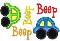 Beep Beep Cars Applique - 3 Sizes! | $6.50